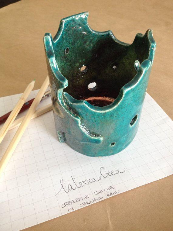 vaso in ceramica raku color verde rame di LaterraCrea su Etsy