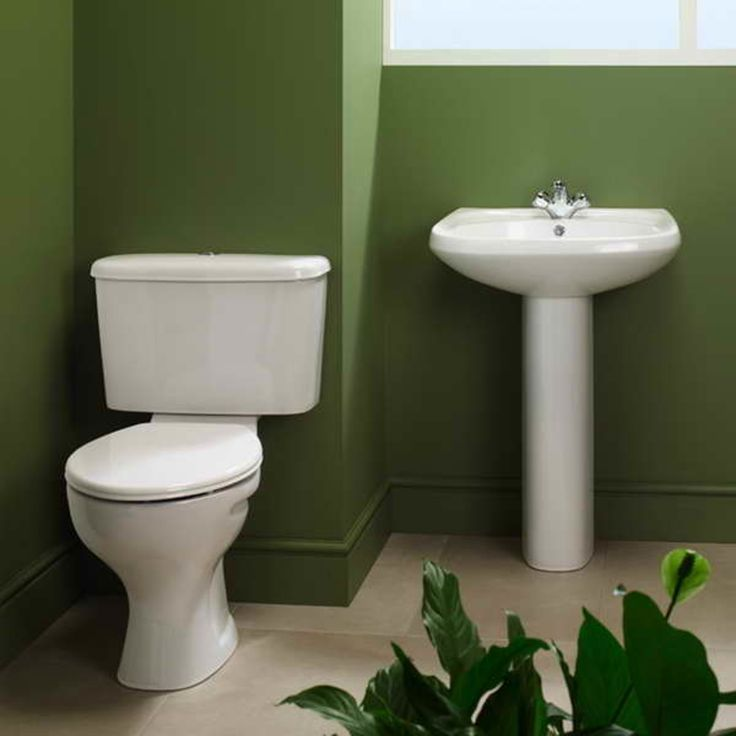 Vitra Pedestal Sink With Green Walls