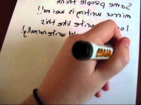 Mirror Writing example #LefthandersIntl - http://Left-handersInternational.com