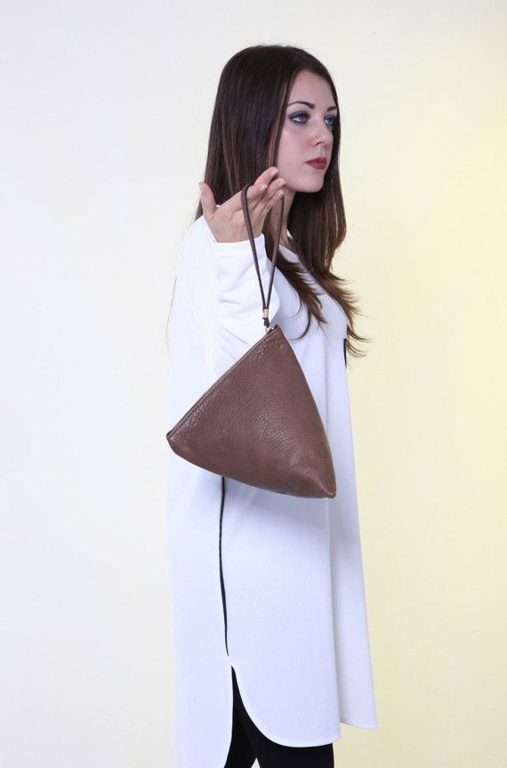 Brown Leather Clutch with Wrist Strap. Triangle Clutch. Triangle shape pouch Minimalist  leather, purse leather ,  Design Ganza. Mod. Isotta