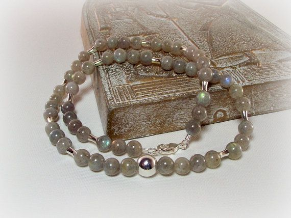 Gray Morning Sky Men's Labradorite and Silver Necklace by Designed By Audrey, $58.00