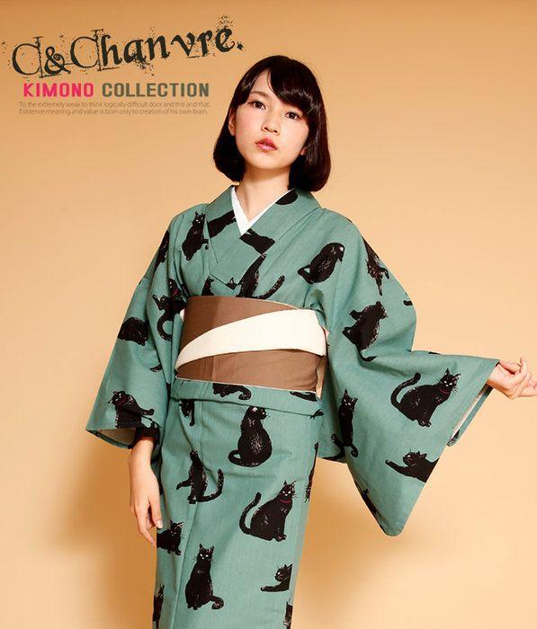 お洋服感覚で着れるカジュアル着物です♪【Nicoantiqueoriginal(ニコアンティークオリジナル)日本製!お仕立て上がり綿麻リネン混合きもの吾輩は猫であるグリーン】※こちらは着物単品での販売です。#ねこ#可愛い#個性的#おしゃれ#ネコ#06-15-19-013