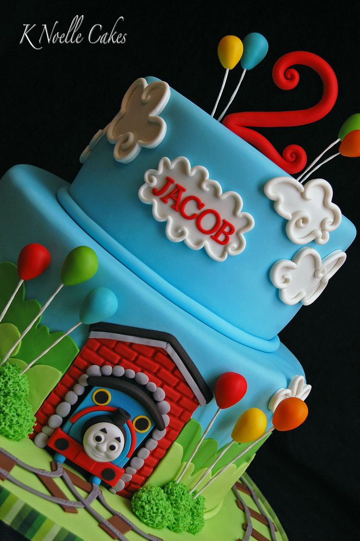 Thomas the train theme cake by K Noelle Cakes