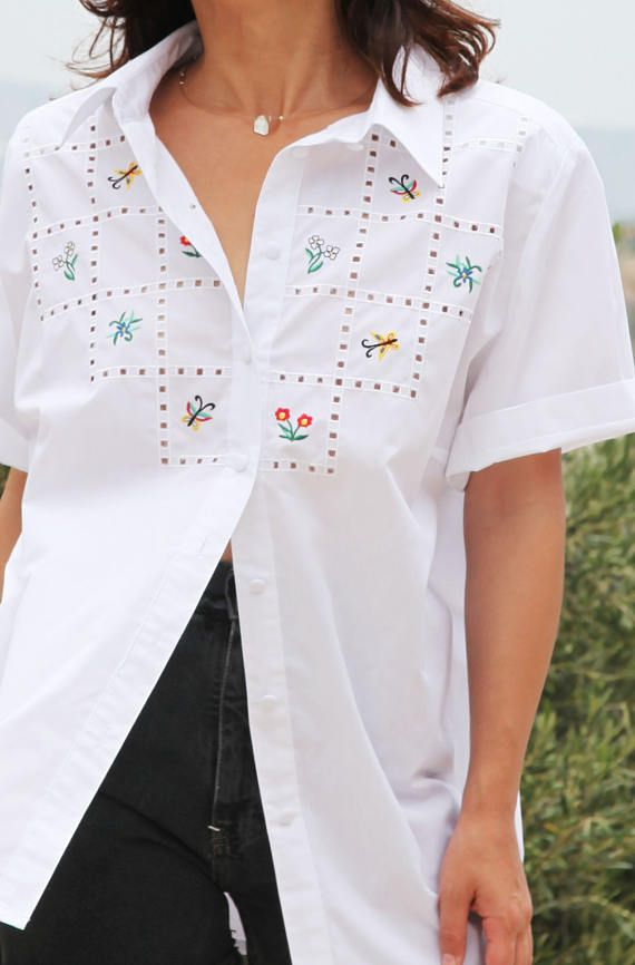 Vintage white embroidered button down shirt.over size