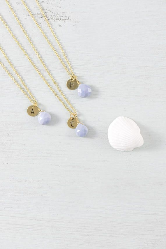 Blue lace agate personalised bridesmaid necklace - Tiny light blue bridesmaid necklace - Small pale blue gemstone bridesmaid necklaces