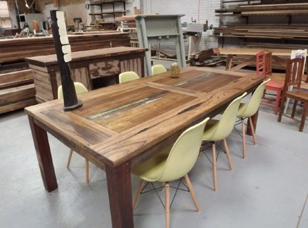 Reclaimed Timber Dining Table - Painted Feature Panels - sydney