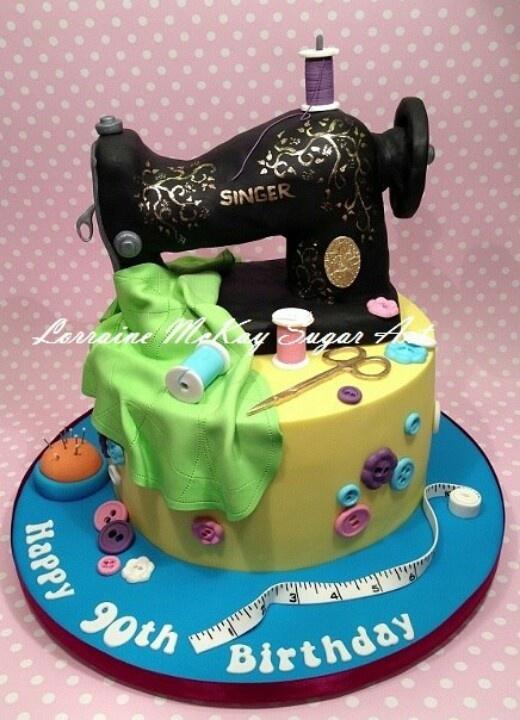 Vintage Singer sewing machine cake..