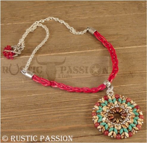 Mandela Pendant-Turquoise and Red Leather with Silver Chain.N123