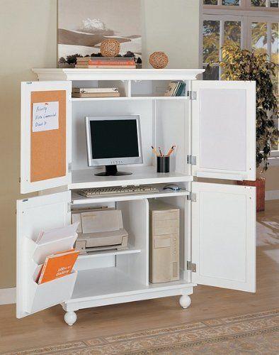 White Finish Louvered Design Computer Armoire Desk