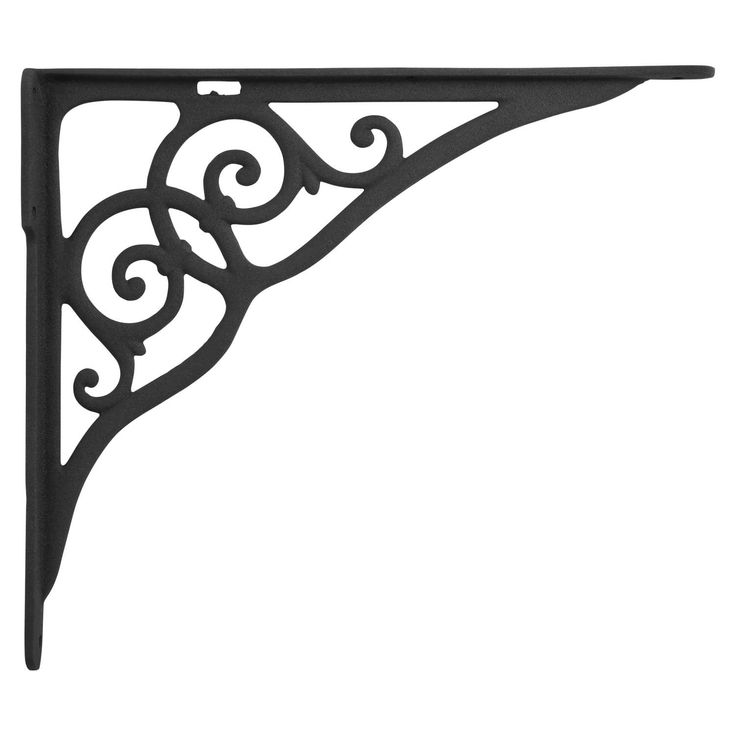 Ringlet+Motif+Large+Iron+Shelf+Bracket+-+Black+Powder+Coat