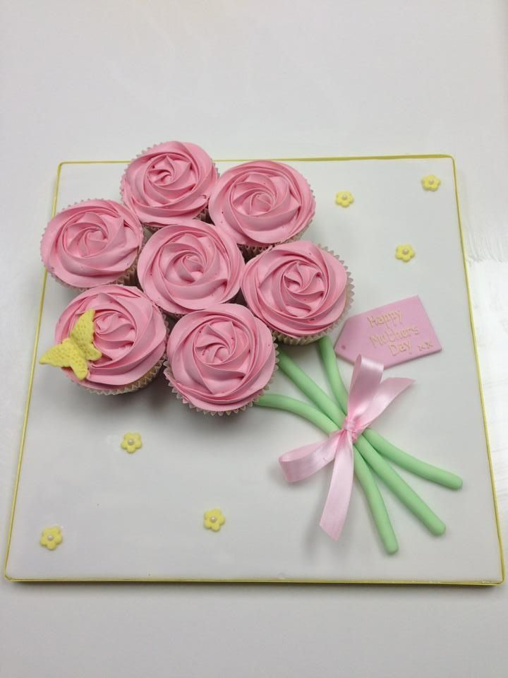 Pink roses buttercream piping on cupcake bouquet - - Afternoon Tea or Spring Mothers Day cakes and baking inspiration