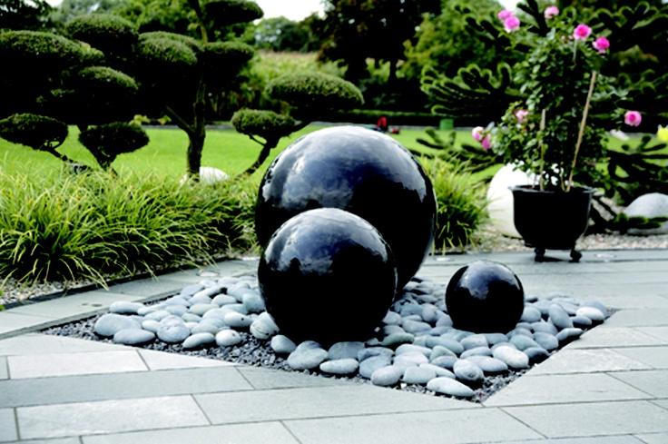 Black Granite Ball Fountain