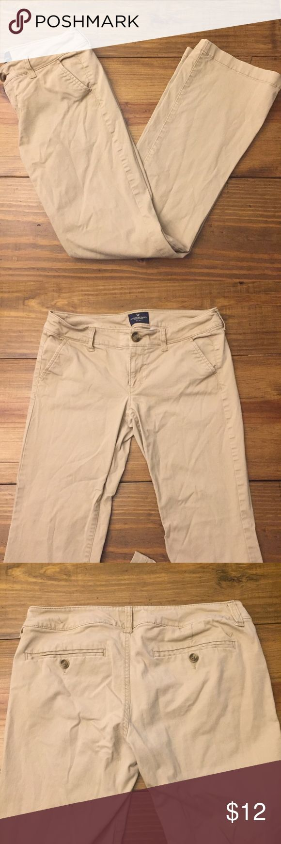 American Eagle Outfitters Kick Boot Khaki Pants 6 Women's size 6 Kick Boot Khaki Pants by American Eagle Outfitters. Great Condition, no markings American Eagle Outfitters Pants Boot Cut & Flare