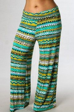 Plus size tribal print wide leg pants