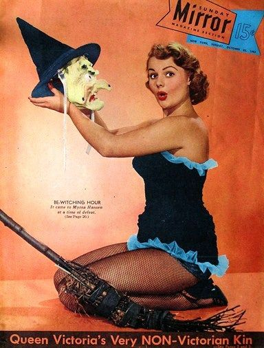 Sunday Mirror 1953 - Halloween Pin Up - Vintage Sexy Witch