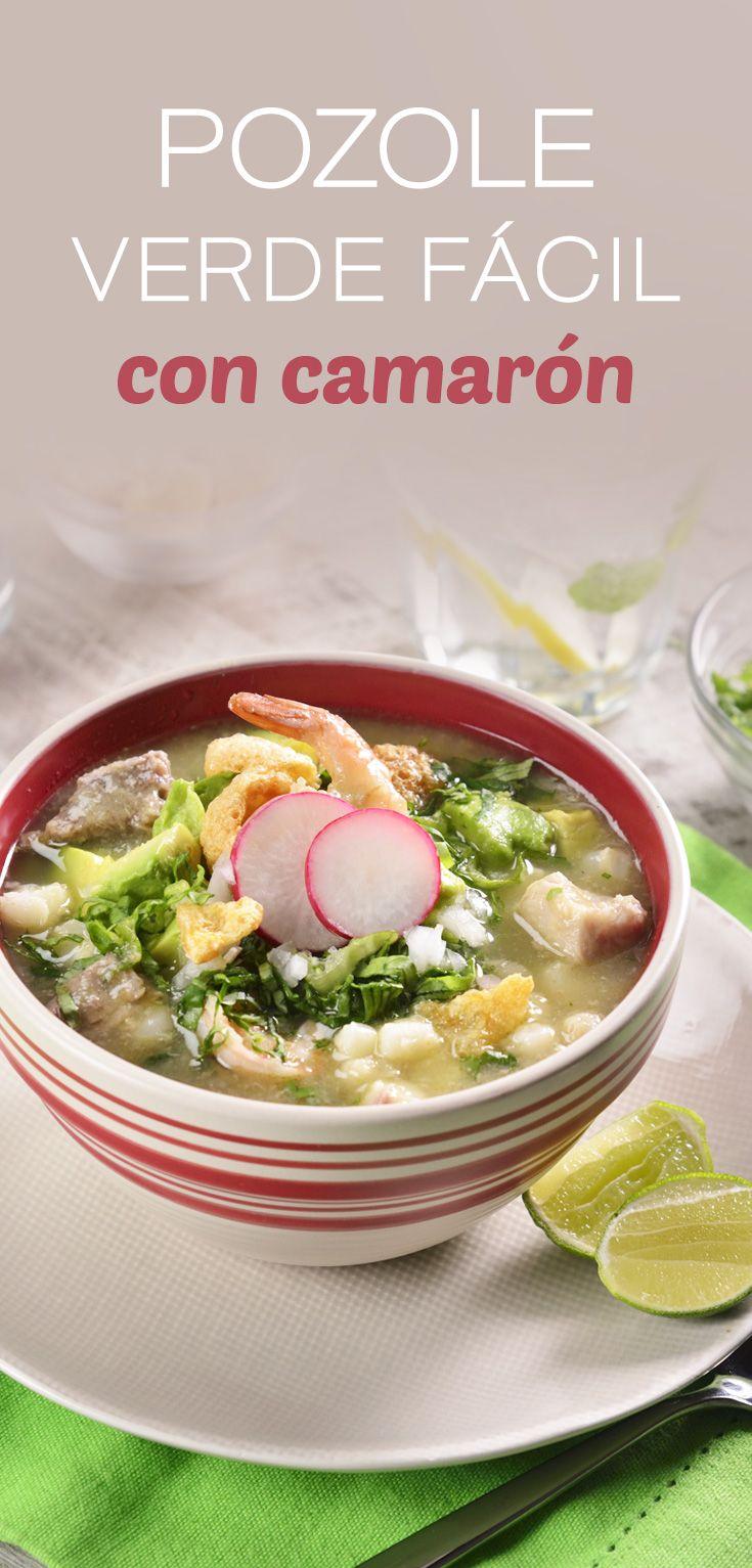 Prepara este platillo típico mexicano, con esta receta muy fácil y rica de pozole verde con camarones, que ahora tu podrás hacer en casa. Así podrás consentir a tu familia y darles esta deliciosa variante del pozole que les fascinará.