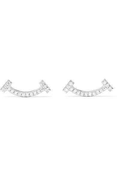 Tiffany & Co. - T Smile 18-karat White Gold Diamond Earrings - one size