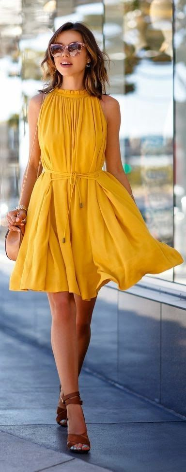yellow dress flowy pin by nikki hynes on fashion 드레스 스타일 옷 6540