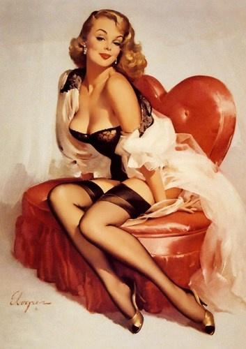 Vintage Retro Sexy Boudoir Gil Elvgren Pin Up Girl A4 Print 4