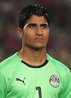 Egypt's Aly Lotfi (1) stands on the field before the match against Costa Rica during the FIFA Under 20 World Cup Round of 16 match between Egypt and Costa Rica at the Cairo International Stadium on October 06, 2009 in Cairo, Egypt.