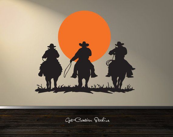 Country And Western Cowboy Wall Decal 3 Cowboys Riding Off Into