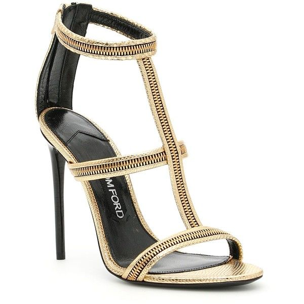 Zip Cage Sandals ($1,003) ❤ liked on Polyvore featuring shoes, sandals, womenshoessandals, zipper sandals, zipper shoes, zip shoes, tom ford and real leather shoes
