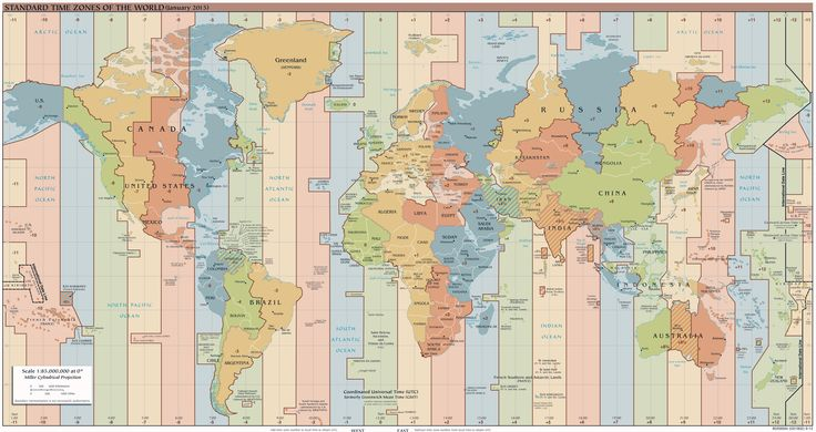 Large detailed time zones map of the World - 2015 issue. Large detailed time zones World map - 2015.