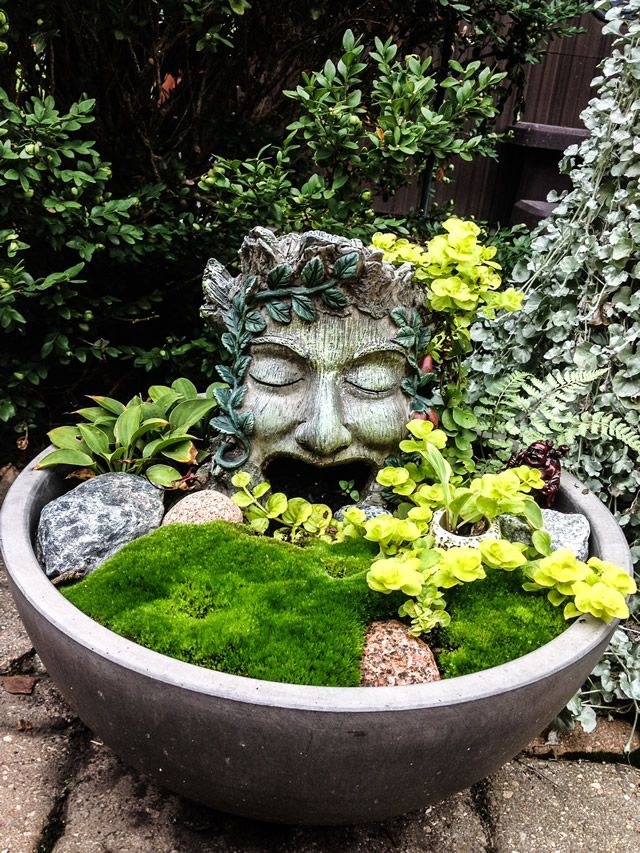 I like the head statue, and use of moss and rocks in the bowl. Ginny's Garden in Photos | Fine Gardening