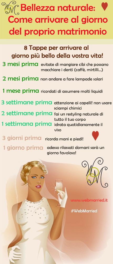 bellezza naturale, come arrivare al giorno del proprio Matrimonio! #matrimonio #sposa #bellezza #makeup