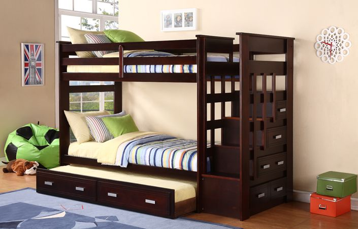 Bunk bed with trundle espresso stairway bunk bed with trundle and storage side drawers - Bunkbeds with drawers ...