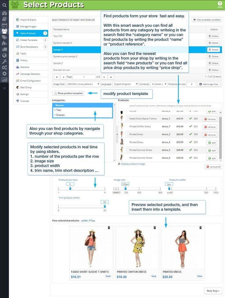 """Select Products  Find products from your sore fast and easy. With this smart search you can find all products from any category by writing in the search field the """"category name"""" or you can find products by writing the product """"name"""" or """"product reference"""". Also you can find the newest products from your shop by writing in the search filed """"new products"""" or you can find all price drop products by writing """"price drop""""."""