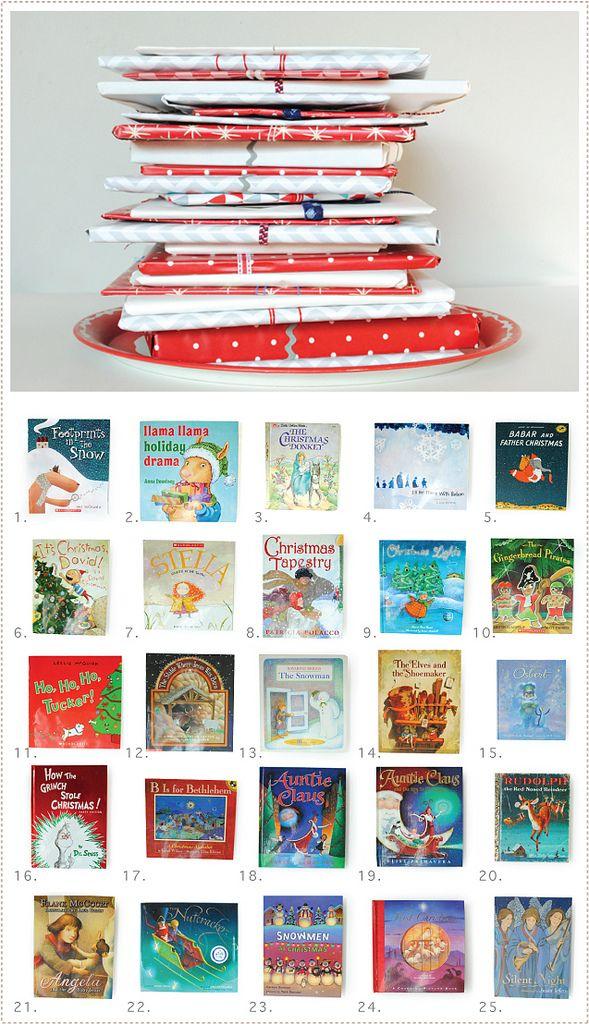 wrap children's Christmas books for advent calendar. I might do this with Christmas movies too.