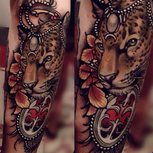 Jaguar (leopard?) tattoo by Brando Chiesa