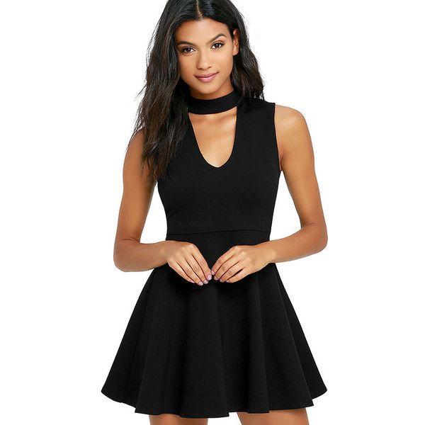 Loving You is Easy Black Skater Dress ($54) ❤ liked on Polyvore featuring dresses, black, skater dress, party dresses, skater skirts, cutout dresses and sleeveless skater dress