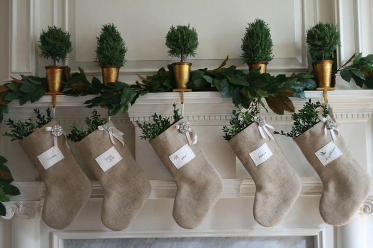 calcetines para colgar en la chimenea de arpillera