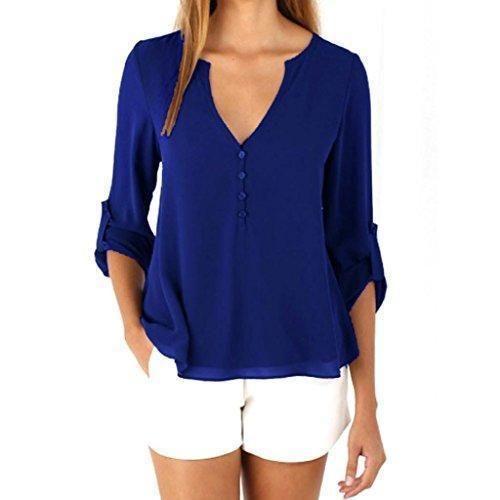 Oferta: 5.78€. Comprar Ofertas de FEITONG Para mujer suelta de manga larga Ocasional de la gasa blusa de la camisa de la blusa manera de las tapas 4 colores (X barato. ¡Mira las ofertas!