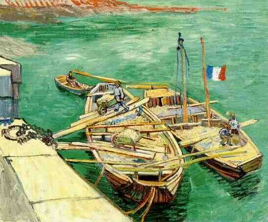 Quay with Men Unloading Sand Barges | Vincent Van Gogh | oil painting #vangoghpaintings