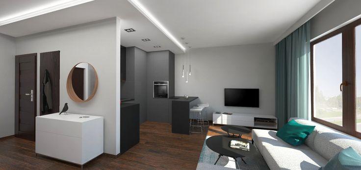 Nowoczesne dwupokojowe mieszkanie w centrum Katowic. Wnętrze inspirowane malowniczą Doliną Trzech Stawów. Salon wyposażony jest w elegancką sofę, nowoczesny sprzęt multimedialny. Obok salonu znajduje się aneks kuchenny a także duża, komfortowa sypialnia, elegancka łazienka wraz z toaletą oraz hall z garderobą.