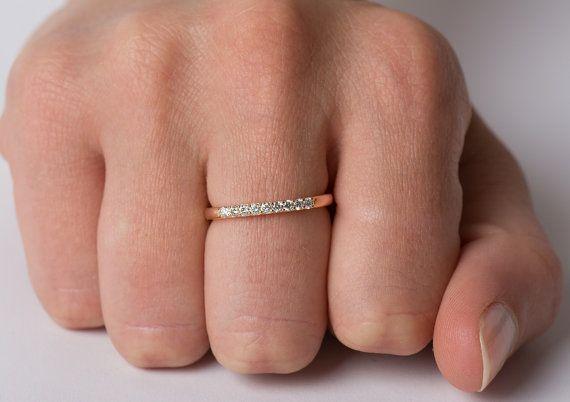 9 anillo de diamante banda de diamantes oro rosa de por NirOliva