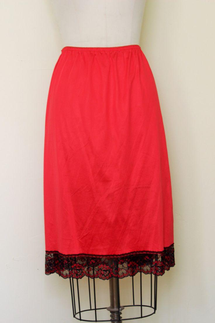 Vintage Nylon Red Half Slip / Black Lace Trim / Red Sexy Slip / Slip With Side Slit / Vintage Lingerie / Extra Large / Plus Size by ToadstoolFarmVintage on Etsy