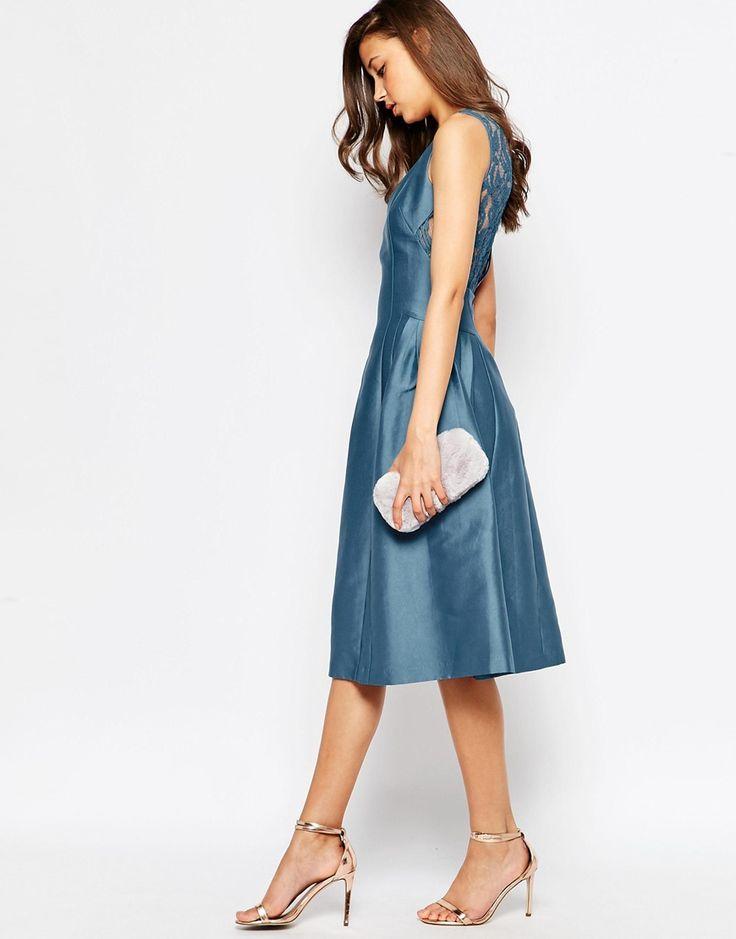 Image 4 ofASOS TALL SALON Lace Insert Plunge Midi Dress