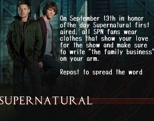 On Sept 13, in honor of the first day Supernatural aired, SPN fans should wear any and all of their SPN clothes, jewelry, etc. <--- I'm in! Anyone else?
