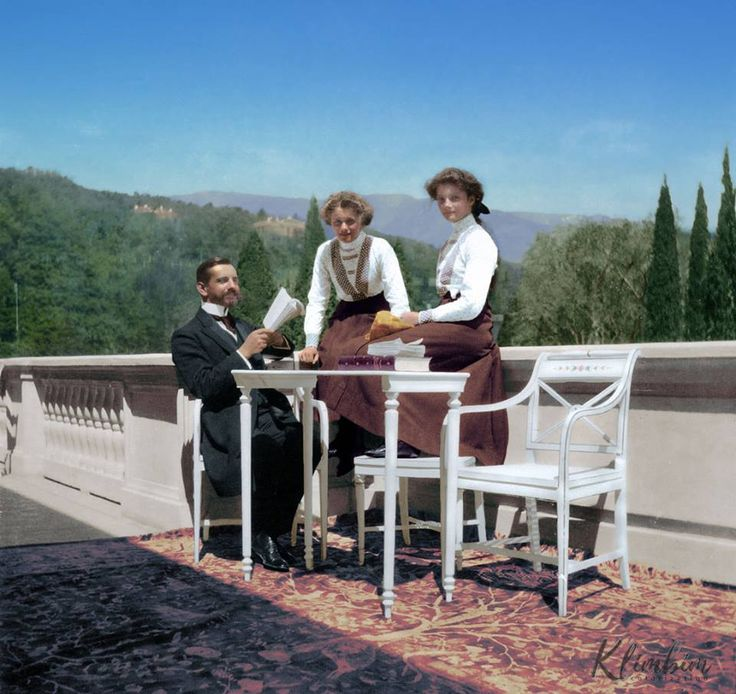 Grand Duchess Plga and Tatiana with tutor Pierre Gilliard at Livadia 1911