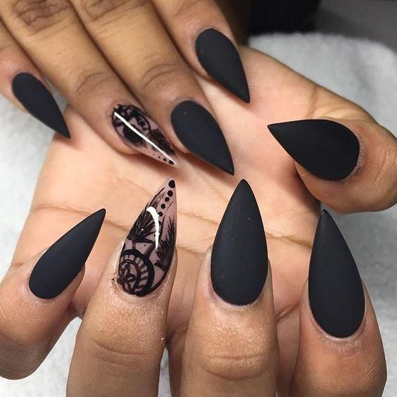 Best Black Stiletto Nails Designs For Your Halloween; #AcrylicNails #CoffinNai… – Nails