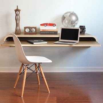 Minimal Wall Desk Walnut, $679, now featured on Fab.    I really like this desk set-up. Out when you need it, in when you don't. Very clean and purpose oriented. I can imagine it many types of living/working situations in various design schemes.
