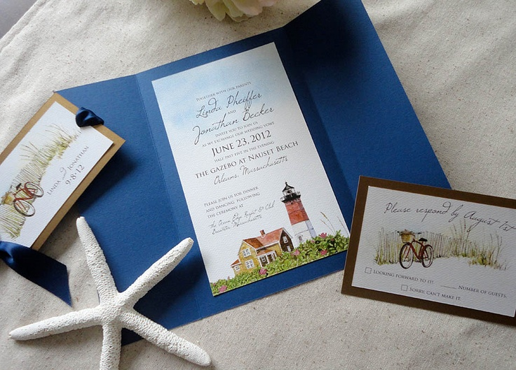 Cape Cod Lighthouse Wedding Invitations -