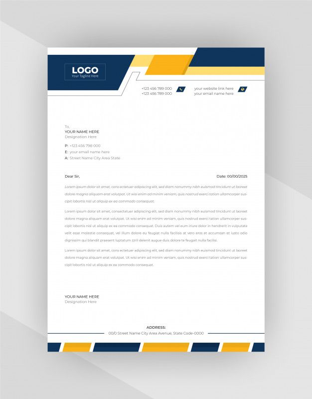 Download Yellow Blue Corporate Letterhead Template Design For Free Letterhead Template Letterhead Design Letterhead