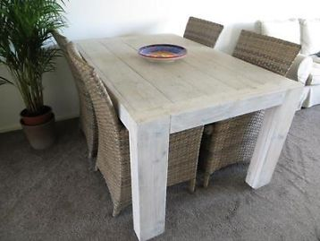 eettafel van steigerhout zonder stoelen geschikt voor 4 tot 6 personen ...