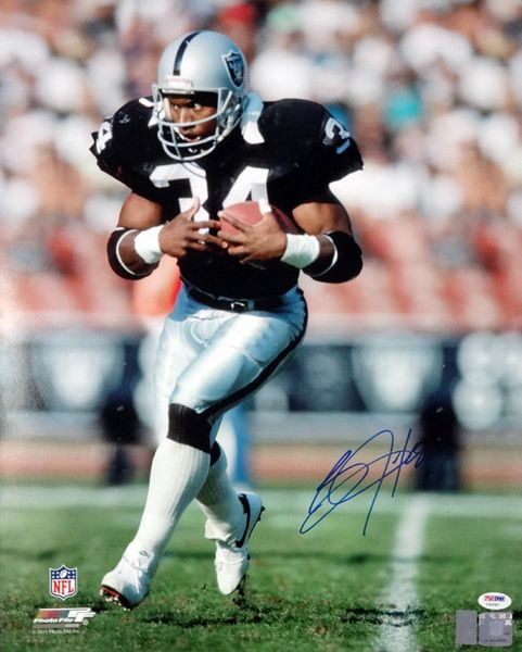 This is a 16x20 photo that has been hand signed by Bo Jackson. The autograph has been certified authentic by PSA/DNA and comes with their sticker and matching certificate of authenticity.