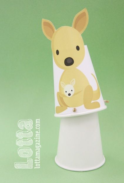 Australia Day crafts — jumping kangaroo cups